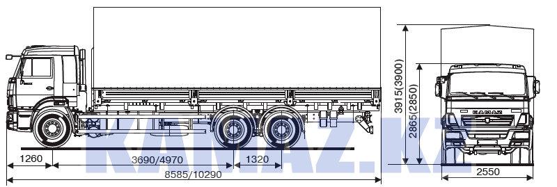 Габаритные размеры КАМАЗ-65117