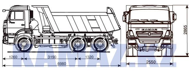 Габаритные размеры КАМАЗ-65115