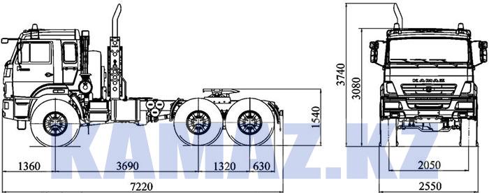 Габаритные размеры КАМАЗ-53504